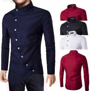 b0f6bfae Men's Casual Shirt Collar Oblique Placket Irregular Long Sleeve ...