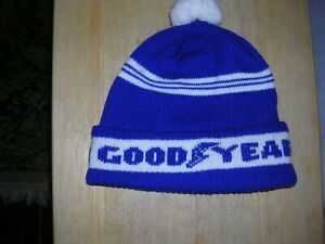 Vintage Knit Beanie HAT GOODYEAR TIRES,Blue & White Hat 1950s or 60s Was my Dads