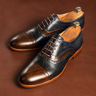 Handmade Men/'s Brown Blue Brogue Lace Up Dress Shoes Real Leather Office Shoes