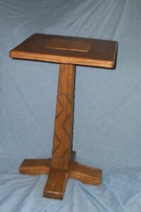 Vtg Lodge Ranch Oak Western Table Cowboy Stand August