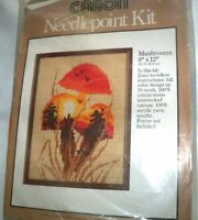 Cute 1978 Caron Mushrooms Needlepoint Kit 4689 Uses Long & Normal Stitches