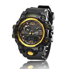 OHSEN Gold Mens Sport Military Day Date Alarm Analog Digital Quartz Wrist Watch
