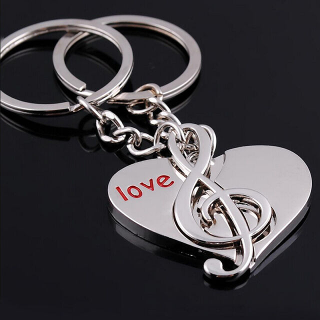 Sweet Love Heart Music Key Ring Keyfob Couples Romantic Keychain Lover Gift 2pcs