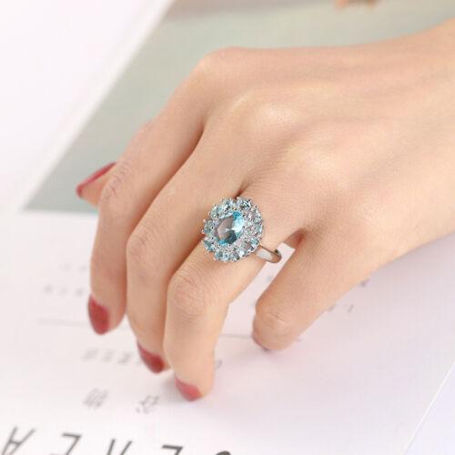Magnifique fleur Titanic Ocean Blue Topaz Gems silver woman ring Taille 6-10 NEUF