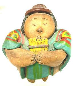 Peruvian Hand Made Potter Flute Player Figurine
