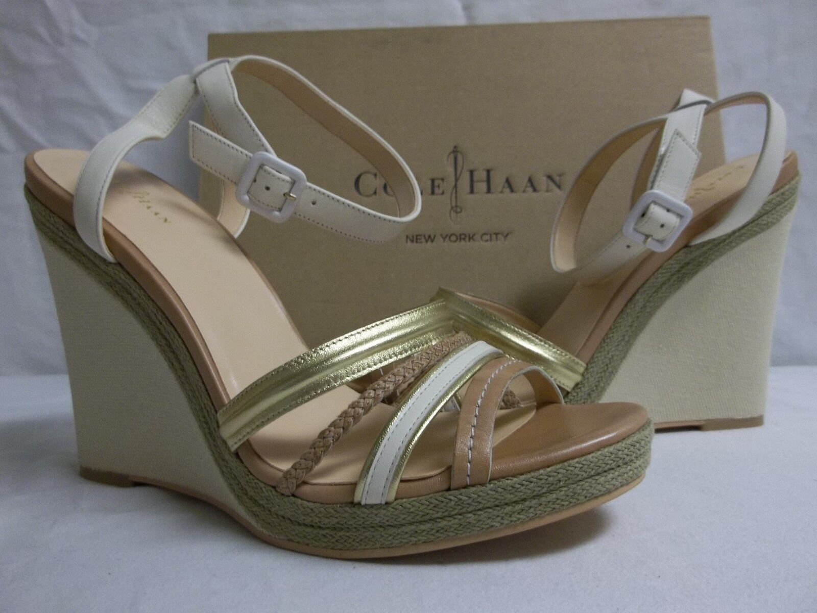 Cole Haan 11 M Nassau Leather Ivory Sandstone Open Toe Wedges New Womens Shoes