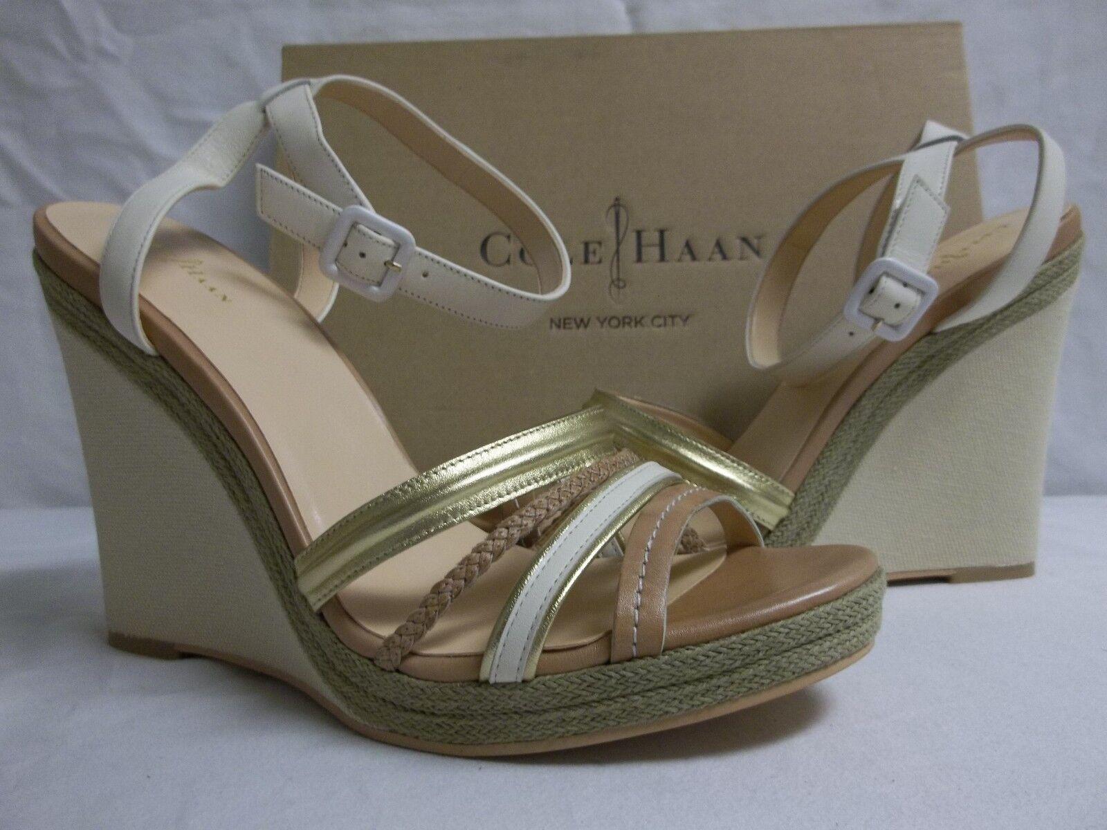 Cole Haan 11 M Nassau Pelle Ivory Sandstone Open Toe Wedges New Donna Shoes