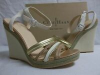 Cole Haan 11 M Nassau Leather Ivory Sandstone Open Toe Wedges Womens Shoes