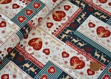CHRISTMAS FABRIC GINGHAM REINDEER HEARTS SNOWFLAKES 100% COTTON 135CM WIDE