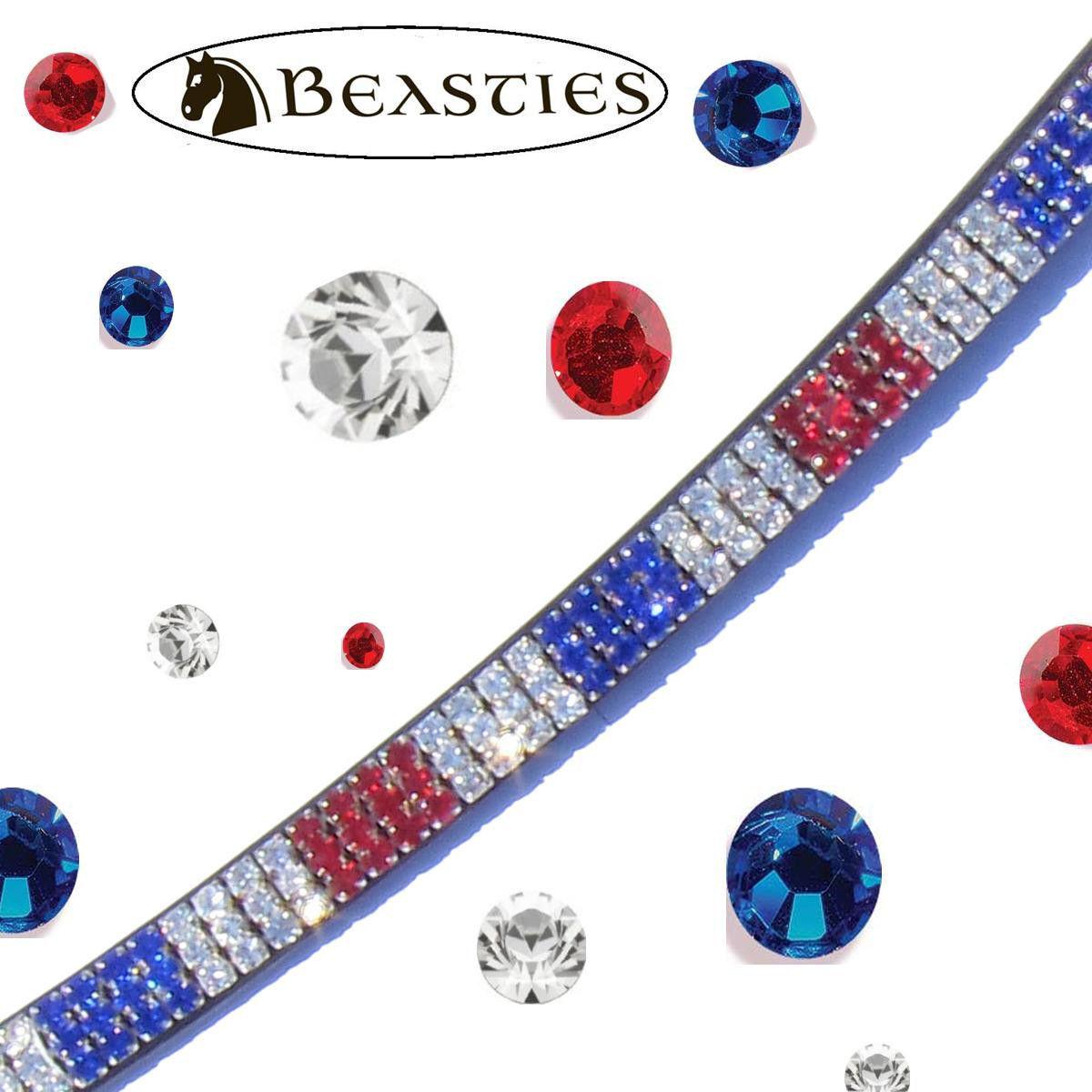 ROT Weiß Blau, Blau, Weiß USA Flag Luminocity Browband | Braun Leder | Cob/Horse 15.75