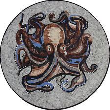 Octopus Tile Stone Art Pool Wall Tabletop Marble Mosaic AN363