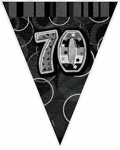 70th-BIRTHDAY-BANNER-BLACK-amp-SILVER-HOLOGRAPHIC-FLAG-BANNER-3-6m-12ft