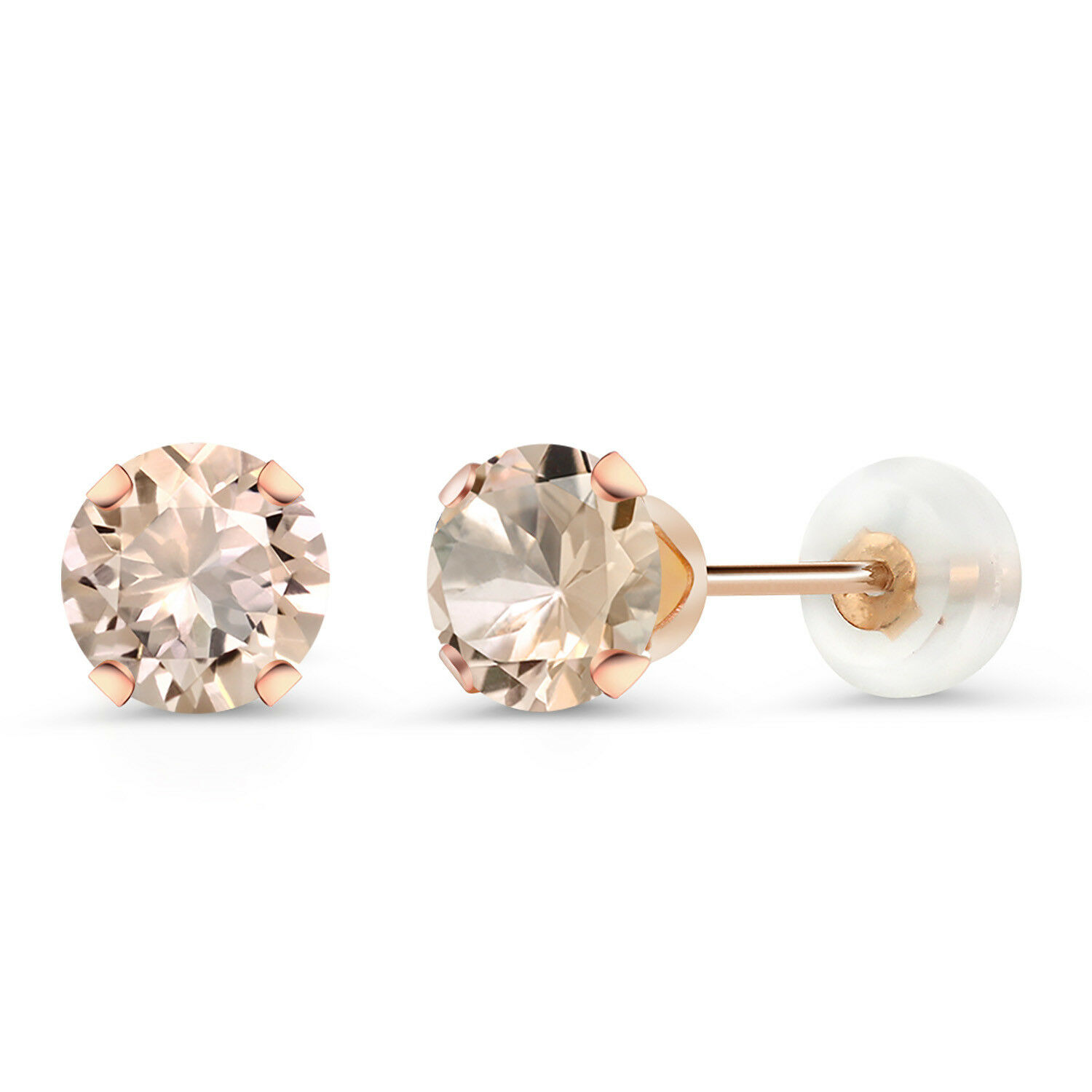 0.80 Ct Round 5mm Peach Morganite 10K pink gold Stud Earrings