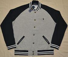 New Medium M POLO RALPH LAUREN Men's fleece baseball varsity jacket Gray black