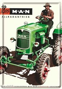 Nostalgic-Art Carte Postale en Tôle / Métal 10 x14 - Man Ackerdiesel Tracteur