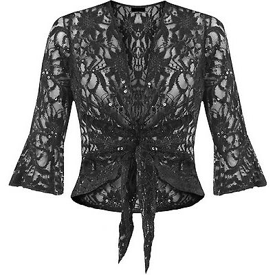 New Womens Sequin Lace Tie Up Ladies Crochet Party Bell top 3/4 Sleeve Plus Size