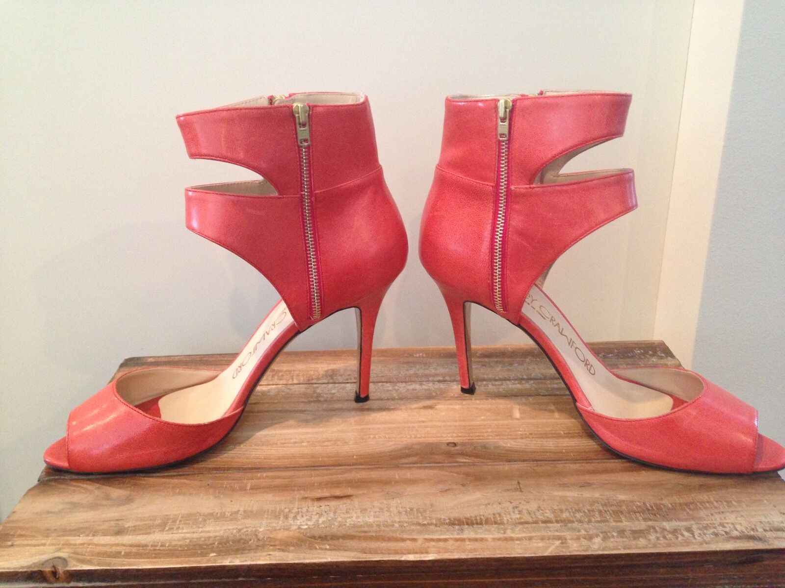 Leder heels/ booties by Courtney Crawford, coral color, Italian made, Gre 7.5