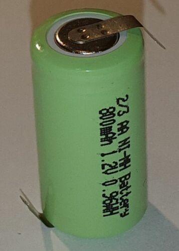 Einzel-Zelle Battery Nimh 2//3AA 1,2V 800mAh With Soldering Cell 2//