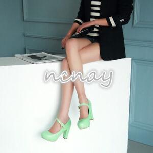Cute-Women-039-s-Mary-Jane-Round-Toe-Lolita-Block-Heels-Ladies-Pumps-High-Heels-New