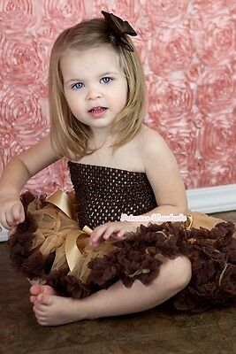 Baby Golden Brown Pettiskirt Brown Crochet Tube Top With Hair Clip 3PC Set NB-3Y