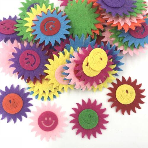 100X Mischfarbe Smiley Sonne Form fühlte Applique dekorative Kleidung Zubehör