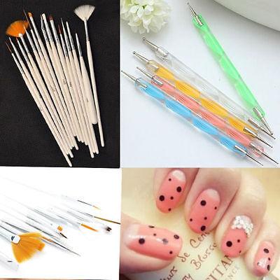 Hot Sale Set Nail Art Acrylic UV Gel Design Brush Painting Point Drill Pen 20Pcs