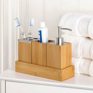 Bamboo bathroom accessory set in tray soap dispenser cup for Bathroom holder sets