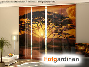 fotogardinen afrika fl chenvorhang schiebegardinen mit. Black Bedroom Furniture Sets. Home Design Ideas