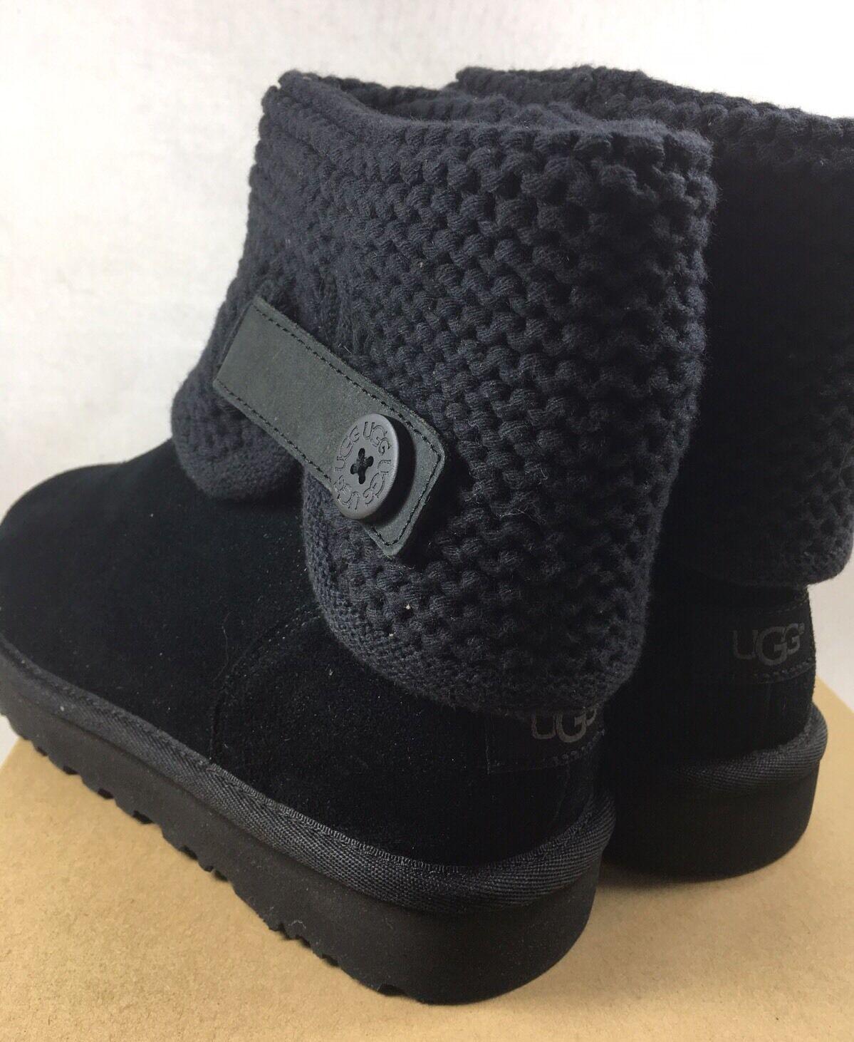 b8916bb1810 UGG Australia Women's Shaina Black Knit Boots NEW 1012534 Cuff Ankle Bootie