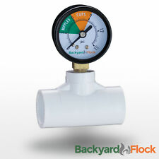 Low Water Pressure Gauge w/ Fitting For Poultry Nipples + Cups Watering System