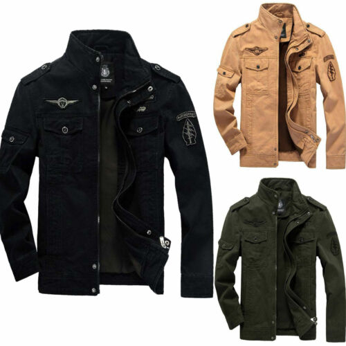 Men/'s Spring Autumn Outwear Military Jackets Casual Cotton Collar Jacket Coat