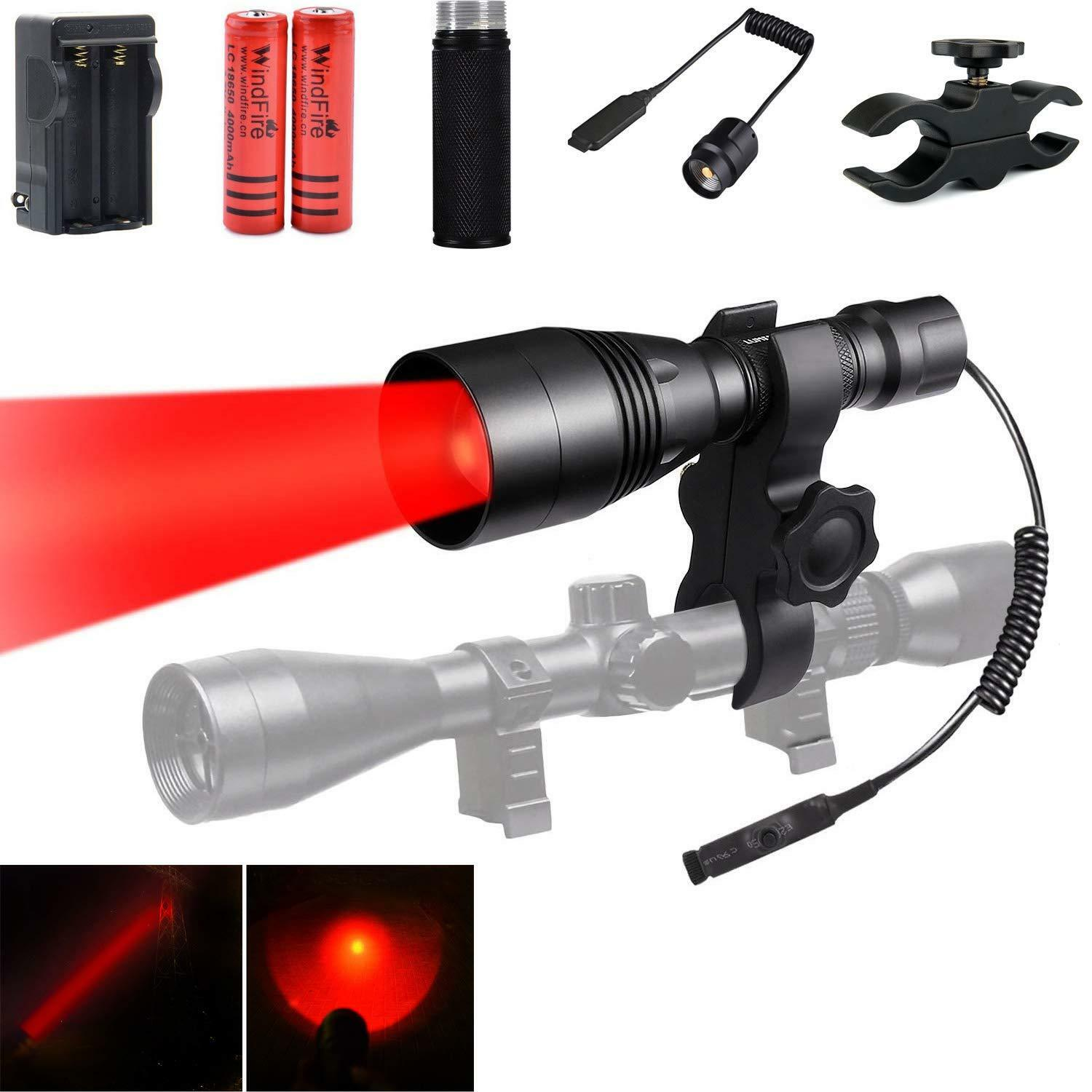 WindFire Tactical Red  LED Hunting Flashlight Zoomable Torch with Extension Tube  buy brand
