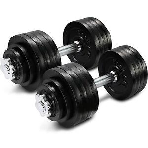 cast iron adjustable dumbbells set 105 lbs hand weight cap gym plate
