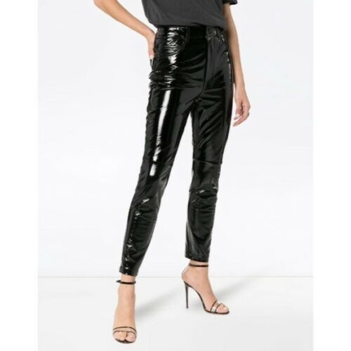 Ksubi Dreams Black Patent Leather Trousers Size 24