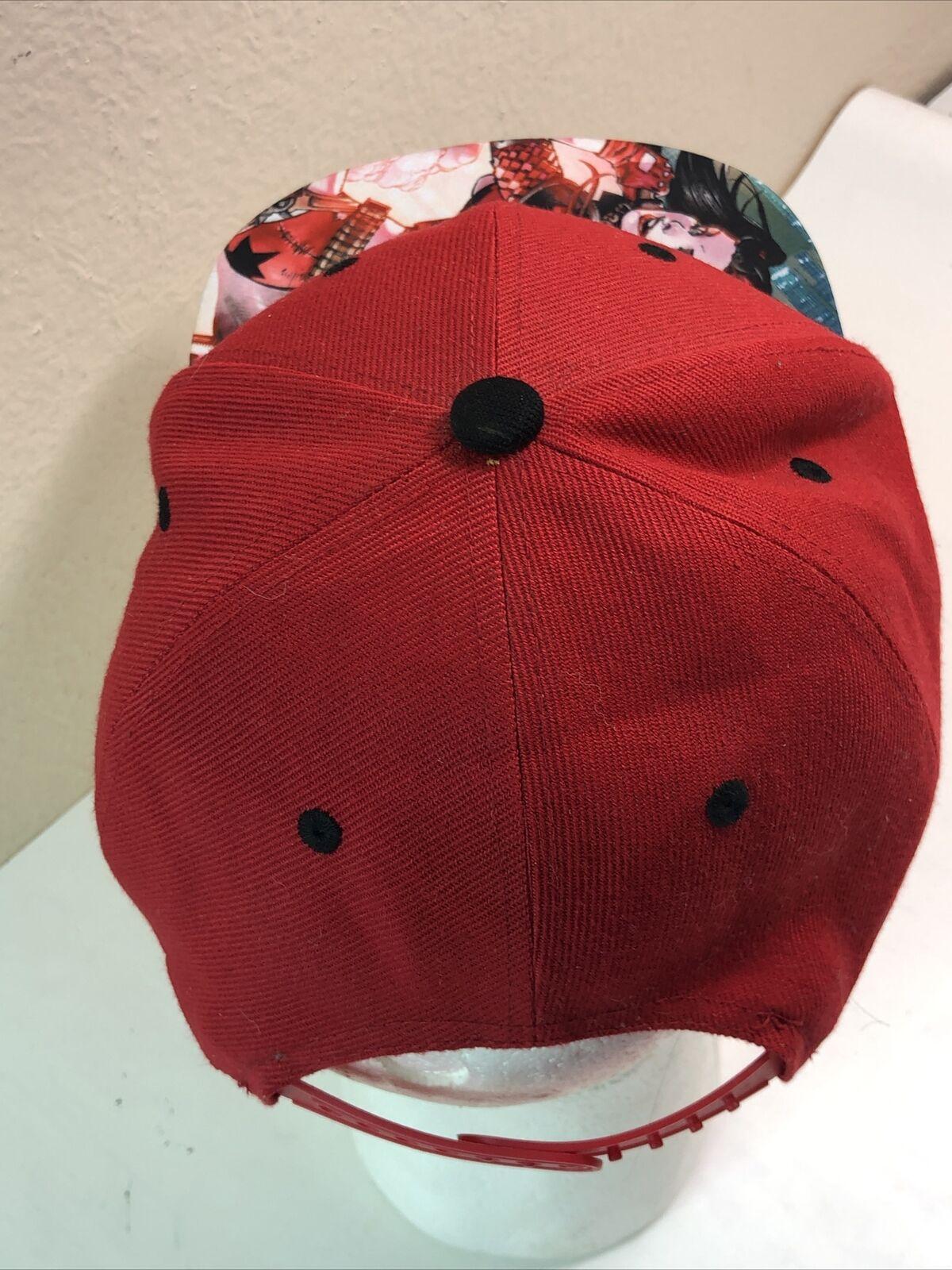 Harley Quinn Snapback Hat Cap Red - image 5