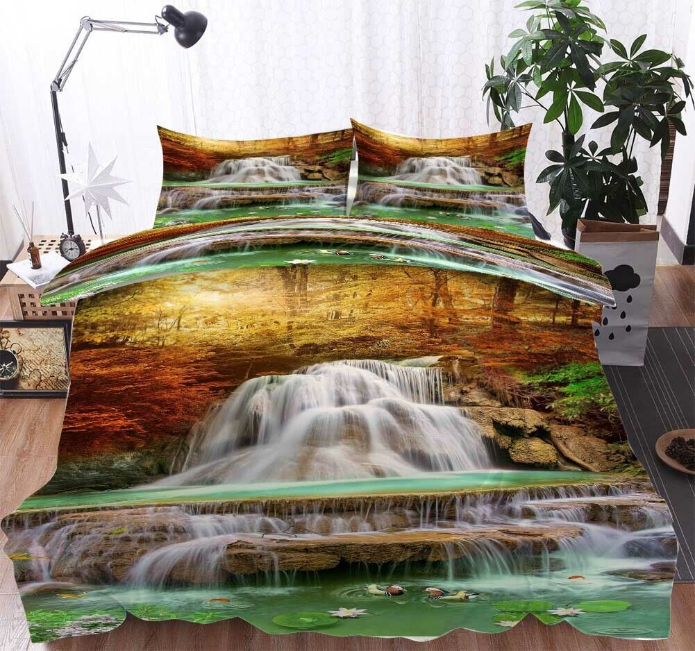 Layer Maple Leaves 3D Printing Duvet Quilt Doona Covers Pillow Case Bedding Sets