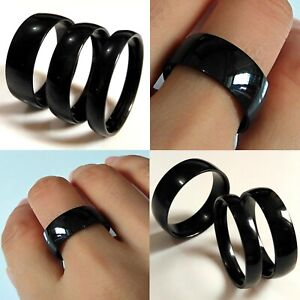 6-8-10mm-Stainless-Steel-Black-ion-Plated-Ring-Mens-Womens-Wedding-Band-L-to-Z