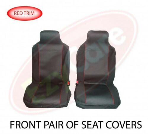 FABRIC CLOTH RED TRIM FRONT PAIR CAR SEAT COVER SET VAUXHALL COMBO VAN 01-11