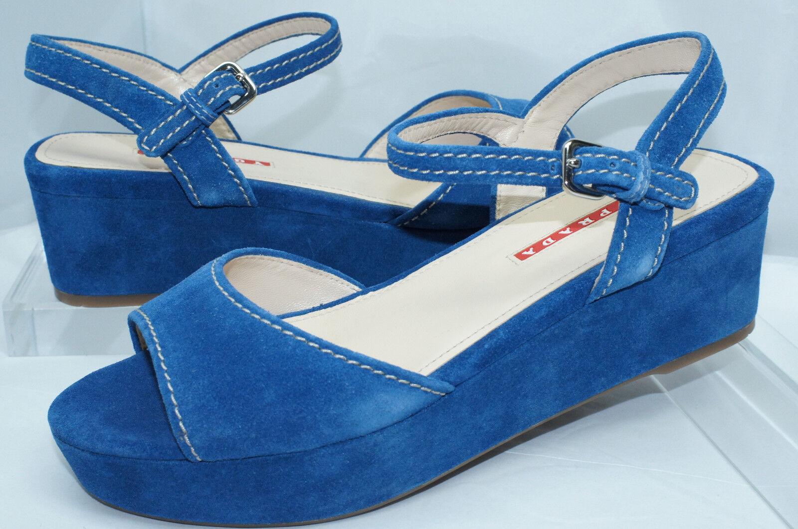 Nuevas Nuevas Nuevas Sandalias Azul Zapatos de Prada Para Mujer Talla 38.5 plataformas Vernice Venta  venta caliente en línea