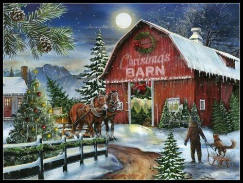 The Christmas Barn Chart Counted Cross Stitch Pattern Needlework Xstitch craft