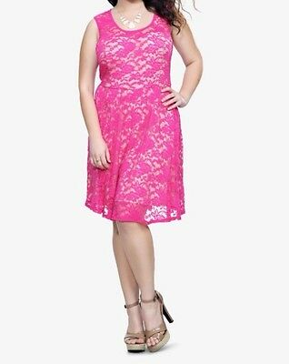 New Retro Pinup Torrid Sweetheart Neck Fuchsia & Nude Floral Lace Tank Dress 4x