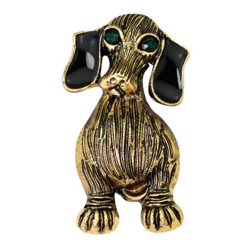Antik Goldemail Hund Tier Pins Abzeichen Corsage Brosche Partei Schmuck Geschenk