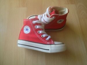 CONVERSE All Star Hi Top Shoes Red White Canvas Baby Toddler Boys Sneakers 7J232