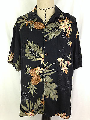 Havana Jacks Cafe Hawaiian Shirt Mens XL Black Floral Beach Camp Outdoor Rayon