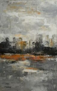 Original-Acrylic-Painting-Abstract-Art-City-Skyline-on-Canvas-by-Hunoz-30-x-48-034