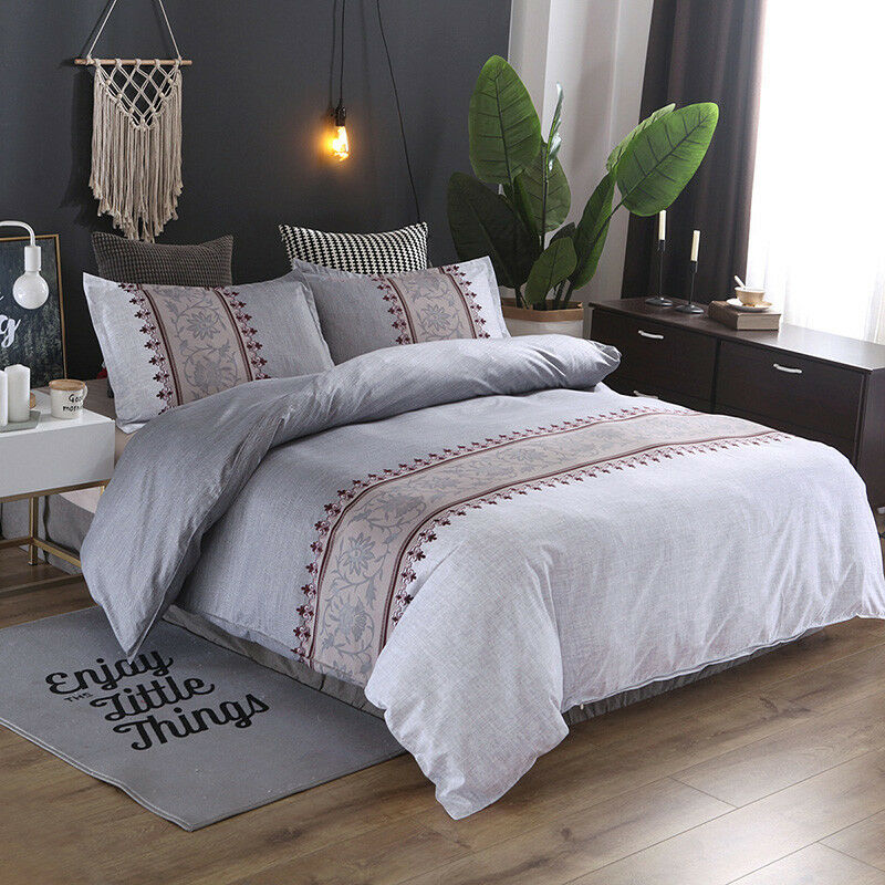 Duvet Cover Bedding Set Single Double King Pillow Case Quilt Cover Fitted Sheet