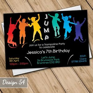 Image Is Loading Trampoline Invitations Personalised Birthday Party Invites Jump