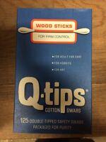 Vintage Q-tips Wood Sticks 125 Cotton Swabs Rare Q Tips