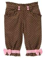 Gymboree Brown Pants With Polka Dots Sz 0-3 Mos.