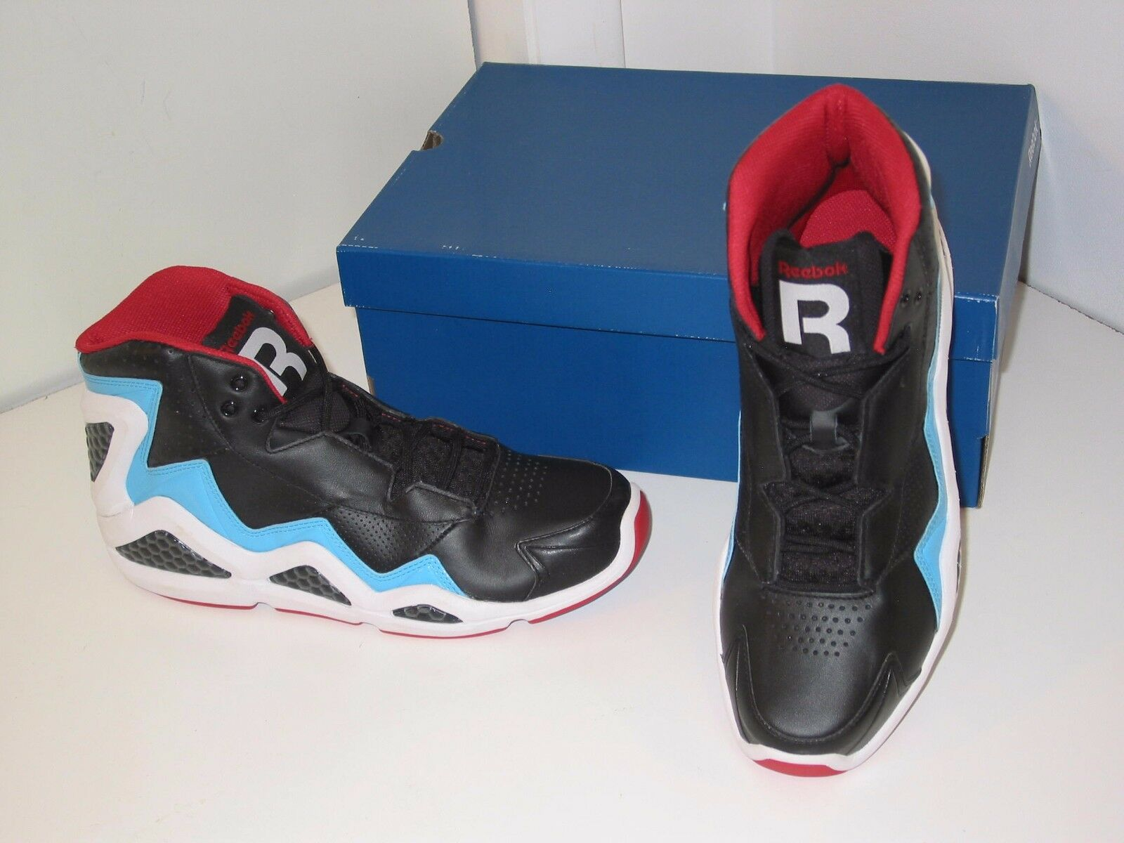 Reebok Sermon Hi Top Retro Basketball Black Blue Red Sneakers Shoes Mens 10